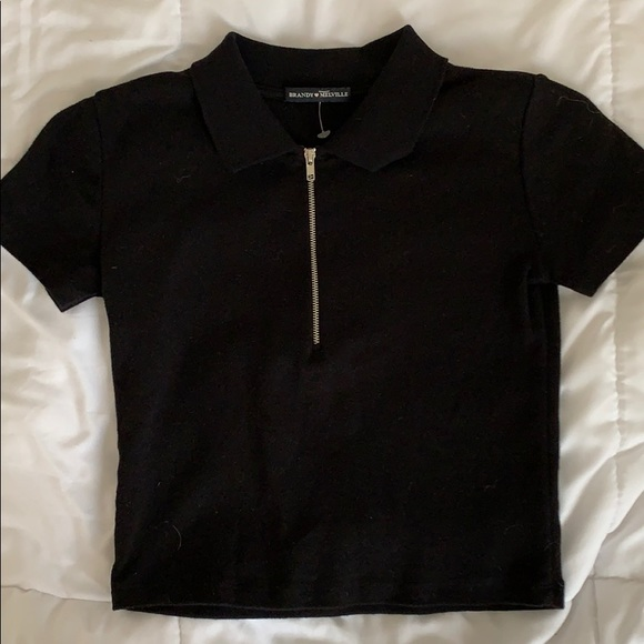 Brandy Melville Black T shirt with zip